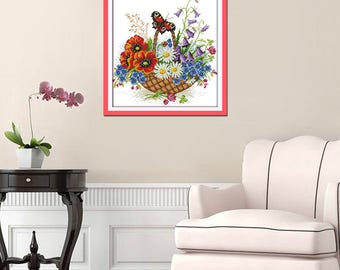 Free shipping Flower basket and butterfly Counted 11CT Printed 14CT Cross Stitch Cotton Cross-stitch Kit Embroidery Needlework H393