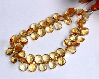 "Full 7"" 47 Pcs Natural Citrine Quartz Faceted Pear Briolettes Size 8x5-10x6 mm Gemstone Briolette Semiprecious Beads TB11"