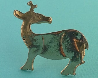 Reindeer brooch pin ALVA Museum Replica Gold tone wild animal vintage jewelry Gold tone brooch Jewelry gift woodland animal