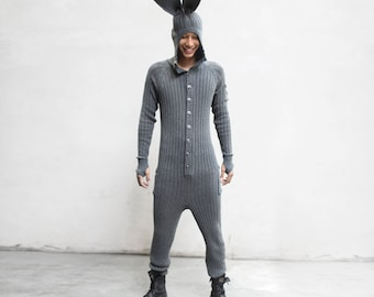 BUNNY Costume - Cozy Rabbit Jumpsuit for Men and Women - Bendable Bunny Ears, Fluffy Tail - Designer Costume - Playful PJ's - Blamo Toys