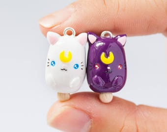 Magnetic Polymer Clay BFF Best Friends Forever Luna Artemis Sailor Moon Inspired Ice Pop Chibi Charms