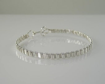 WSB-0130 Handmade .925 Sterling Silver Wire Wrapped Bangle Bracelet
