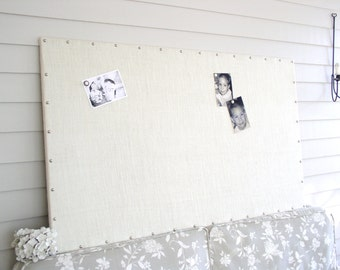 "Huge X-Large Ivory Burlap Memo Board 30 x 52"" MAGNETIC Bulletin Board with Hardwood Construction, Silver Upholstery Tacks and Button Magnets"