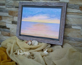 Tramonto sul Mare - Dipinto Paesaggio - Acquerello con Pigmento Metallizzato