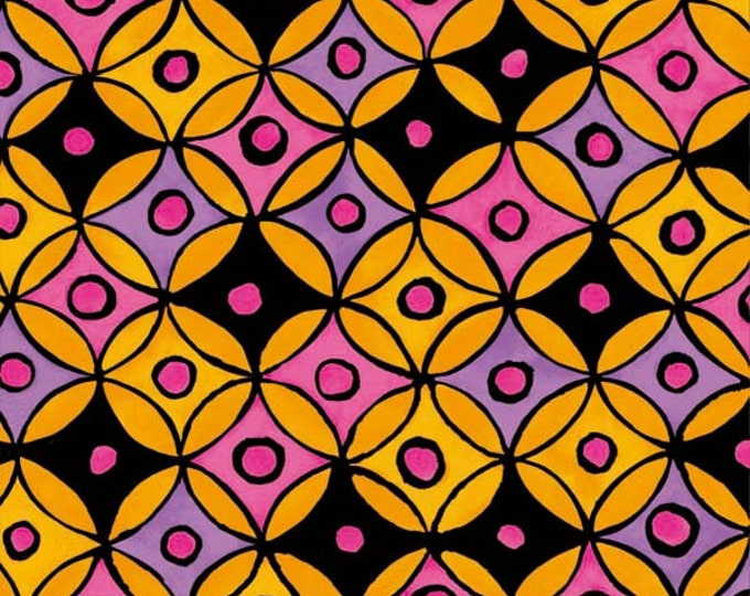 Hippie Hoops Fabric by Ellen Medlock - 1 Yard of Citrus Circles Geopmetric Orange Pink Purple Cotton Quilting Sewing Fabric