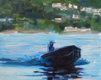 Oil Painting, Ocean Landscape, Man on Boat,  Original Artwork Fine Art, Impressionistic, Puget Sound, Whidbey Island Washington...6x6 Inch