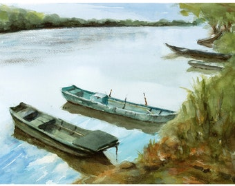 Boats in Spring on the river France Loire River watercolor painting original