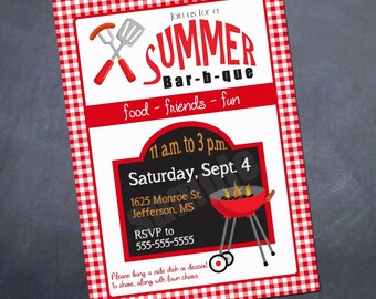 BBQ Invitation - Backyard BBQ - summer bbq - summer - party - printable