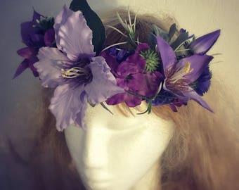 "Floral Headwreath ""Clematis"", romantic headband"