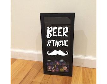 "Beer Cap Holder - Beer Stache - Black Shadow Box (6"" x 14"") - Vinyl Decal Gifts, Home Bar Accessories"