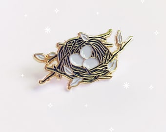 Bird Nest Pin, Soft Enameled Lapel Pin, Collectible Art Jewlery by Minnow&Moss