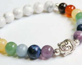 Buddha Chakra Bracelet with Natural Gemstones unisex silver stretch bracelet *FREE SHIPPING USA* 314.5W