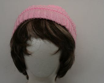 Hand knitted pink lacy hat