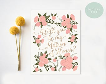 Be My Matron of Honor Card Will you be my matron of honor wedding card INSTANT DOWNLOAD