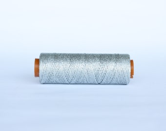 1 spool waxed cord, 100 yards waxed cord, shiny silver Waxed polyester cord, waxed thread, knotting cord, silver beading cord