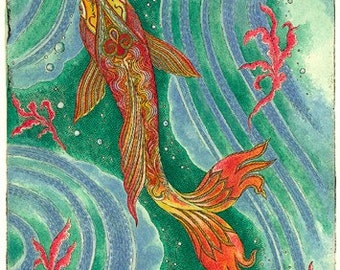Beautiful Fish Hand Made Blank Card, Archival Reproduction of an original watercolor etching.