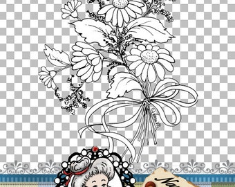 Daisy Digital Stamp, Digi, Clipart, Flower Bouquet, Instant Download, ID:NV-DS0069 By Nana Vic