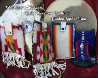 Native American Leather Beaded Bag & Desert Sage Bundle ~ Medicine Pouch ~ Pendleton Wool ~ Buckskin Bag ~ Apache Made Vintage