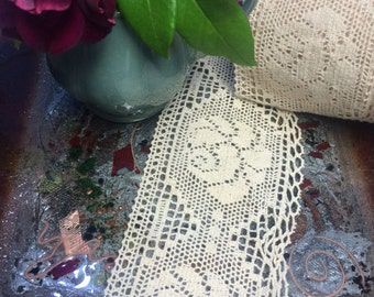 """Magnificent Cotton Crochet Lace 3 7/8"""" Wide."""