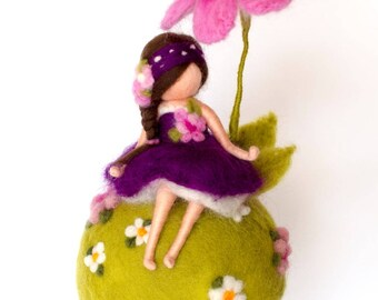 spring fairy sitting under the flower, mobile, home decor, needle felting, felt, gift, wool, personalized gift, gift idea, waldorf, dreams