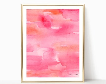 Abstract watercolor Pink painting Original watercolor painting Modern Art Nursery room decor Wash Art Pink Abstract home decor