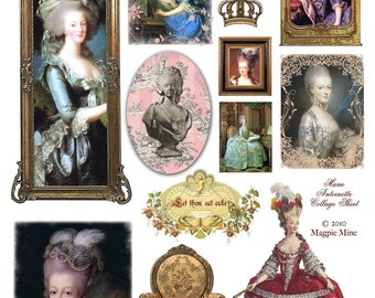 Marie Antoinette Collage Sheet - French - Paris - Portraits - Digital Download - Printable - Instant Download