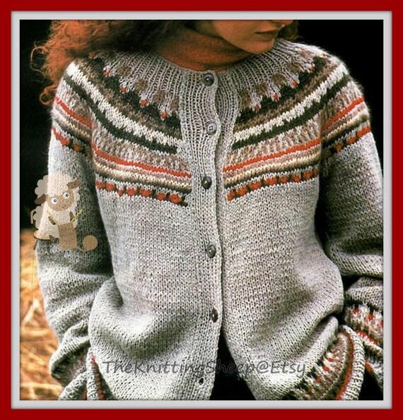 PDF Knitting Pattern Ladies Fair Isle/Nordic Design Yoked