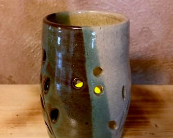 Pottery votive, hurricane light, candle holder, tea light, lantern