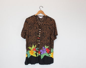 Vintage Top Leopard Print Floral Animal Print Button down Blouse by Sharon Anthony Life Styles
