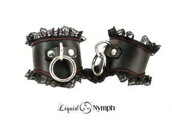 CONSTANCE Black Patent Leather Lace Bondage Slave Cuffs - Lolita Dominant Bracelet - Fetish Bracelets - BDSM Kitten Play & Wrist Restraints