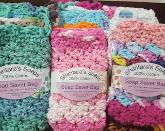 Soap Saver, Soap Bag, Soap Gift Bag, Crocheted Cotton Soap Saver, Soap On A Rope, Soap Scrap Saver, Handmade Soap Saver, Hand Crocheted