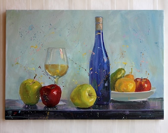 Abstract still life Colorful ORIGINAL oil painting Apple wall art Yellow blue art Green red art Livingroom home decor Housewarming gift