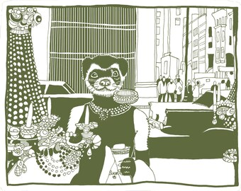Women's Organic T-shirt - Enjoy Breakfast at Tiffany's with Holly Golightly as a ferret!