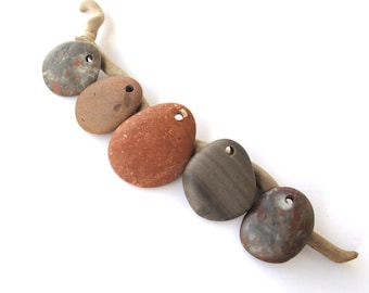 Stone Beads River Stone Beads Diy Jewelry Charms Top Drilled Natural Stones Mediterranean Beach Stone Pendants Green Brown COLOR MIX 25-35mm