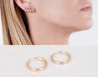 Gold Filled Hoop Earrings, Delicate Earrings, Tiny Hoops Pair, Hugger Hoops, Minimal Earrings, Mini Hoop Earring, Simple Earring, 12mm 14mm