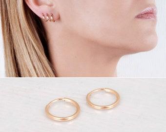 Gold Filled Hoop Earrings, Delicate Earrings, Tiny Hoops Pair, Hugger Hoops, Minimal Earrings, Mini Hoop Earring, Simple Earring, 12mm 14mm