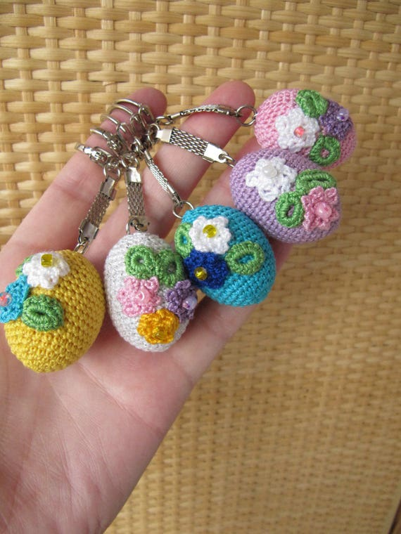 Easter eggs keychain crochet wooden eggs easter basket charm like this item negle Image collections