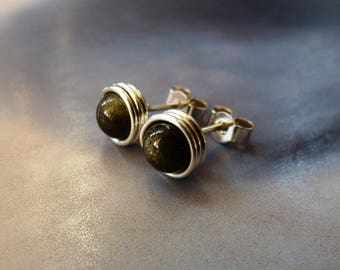 Golden obsidian studs, wrapped post earrings, Sterling silver handmade natural jewelry, gift for mother, 40th birthday gift, 50th birthday