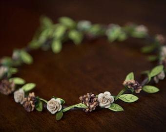 Boho Flower Garland : Brown Aster & Latte Rose (5-12yrs) - WEDDINGS, FLOWERGIRLS, BRIDESMAIDS