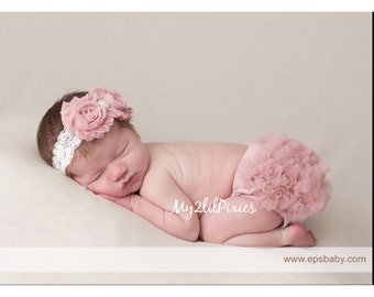 BABY GIRL HEADBAND and Bloomers, Baby Girl Bloomers, Newborn Bloomers, Diaper Cover, Ruffle Bloomers, Ruffle Bloomer, baby set, Vintage pink