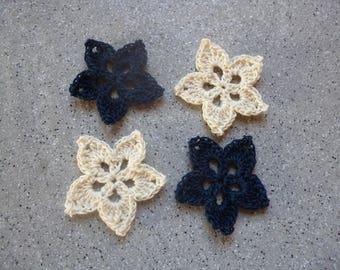 4 flowers crochet handmade cotton blue color ecru