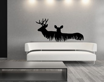 Deer Decal | Wall Decal | Vinyl Wall Decal | Cabin Decor | Rustic Decal | Hunting Decal | Lodge Decor | Deer in Grass  | Style A  22326