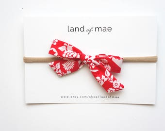 Red Floral Bow** NYLON OR CLIP** Baby headband, Girl headband, Fabric bow, Matching bow, Girl Gift, Baby Gift