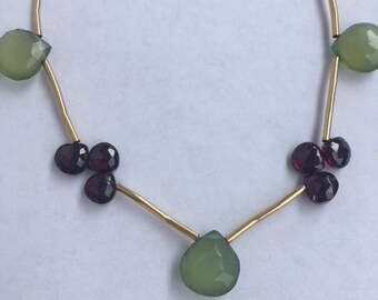 Green Chalcedony, Garnet and Peridot Necklace