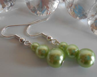 Trio of lime green pearls wedding earrings