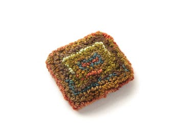 Embroidered Brooch - Needle Punch Art - Textile Jewelry - Wearable Fiber Art - Textile Art - Miniture Rug Hooking - Earth Colors - Handmade