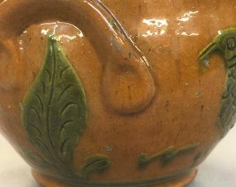Shooner Redware Covered Bowl