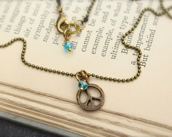 Peace Sign Blue Charm Peace Necklace