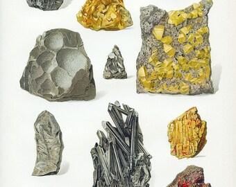 Gem and Mineral Art Print, Boho Home Decorating, Southwest Decor, Gem and Mineral Art, Antique Rock Art Print, Geology Art, Fool's Gold