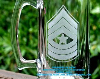 Personalized Army Sergeant Major Beer Mug Custom Military Gift, 27.25oz